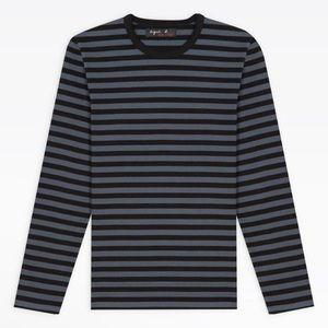 Vintage Iconic Agnes b Black & Gray Striped Shirt